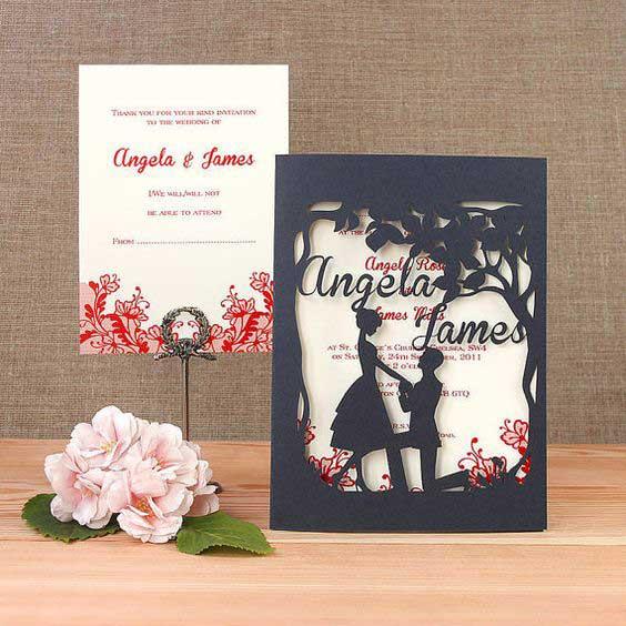 свадебные пригласительные с лазерной резкой