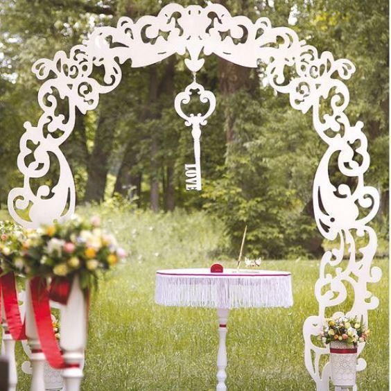 декор свадебной арки с лазерной резкой